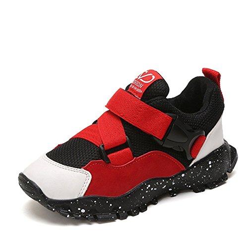 GUOCHENXY Calzado para niños Calzado de Baloncesto Niños y niñas Calzado Deportivo para niños Zapatillas de Moda(28 EU, Red)