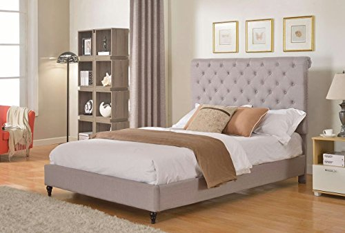 """Life Home Cloth Light Grey Silver Linen 51"""" Tall Headboard Platform Bed with Slats Full - Complete Bed 5 Year Warranty Included"""