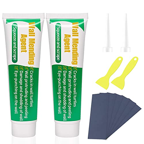 2 Pack Wall Mending Agent,SAISZE Drywall Repair Kit,Wall Repair Cream Putty Hole Filler with Sandpaper