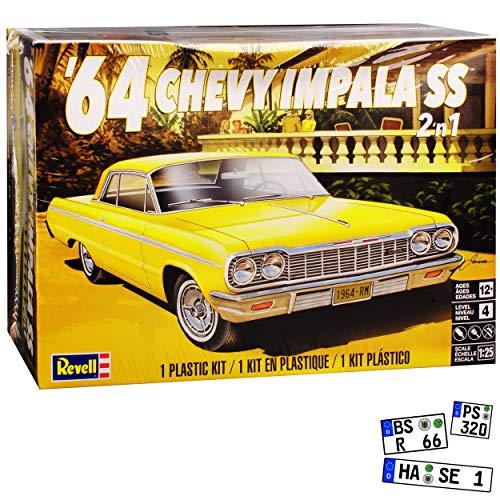 Chevrolet Chevy Impala SS Coupe Gelb 1964 Bausatz Kit 1/24 1/25 Revell Modell Auto mit individiuellem Wunschkennzeichen