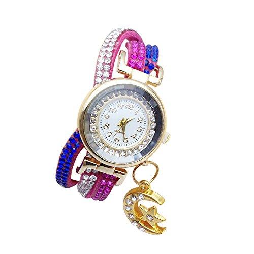 Reloj de Cuarzo de Aleación Tricolor con Pulsera de Cuero PU Relojes de Pulsera con Correa Estampado con Diamantes de Inmitación para Mujer Proumy (C)