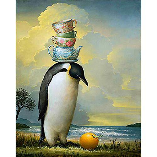 Jigsaw Puzzle 4000 Teile, Pinguin mit Tasse 4000 Stück Puzzles für Erwachsene Kinder Freunde-55.70x34.44 Zoll (141.5 x 87.5cm)