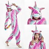 WWEEO Pijamas de Hombre,Pijamas para Adultos MujerUnicornio Invierno Franela Animal Pijama Camisón Stitch Unicornio Ropa de Dormir, Unicornio Grande de Galaxia, XL