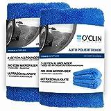 O'clin Lackschonende Mikrofasertücher mit 380 GSM - extrem saugstarkes Trockentuch zur Autopflege - Schonendes Microfasertuch für Auto & Motorrad - Poliertuch - 40 X 40 cm 2er