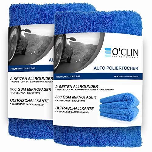 O\'clin Lackschonende Mikrofasertücher mit 380 GSM - extrem saugstarkes Trockentuch zur Autopflege - Schonendes Microfasertuch für Auto & Motorrad - Poliertuch - 40 X 40 cm 2er