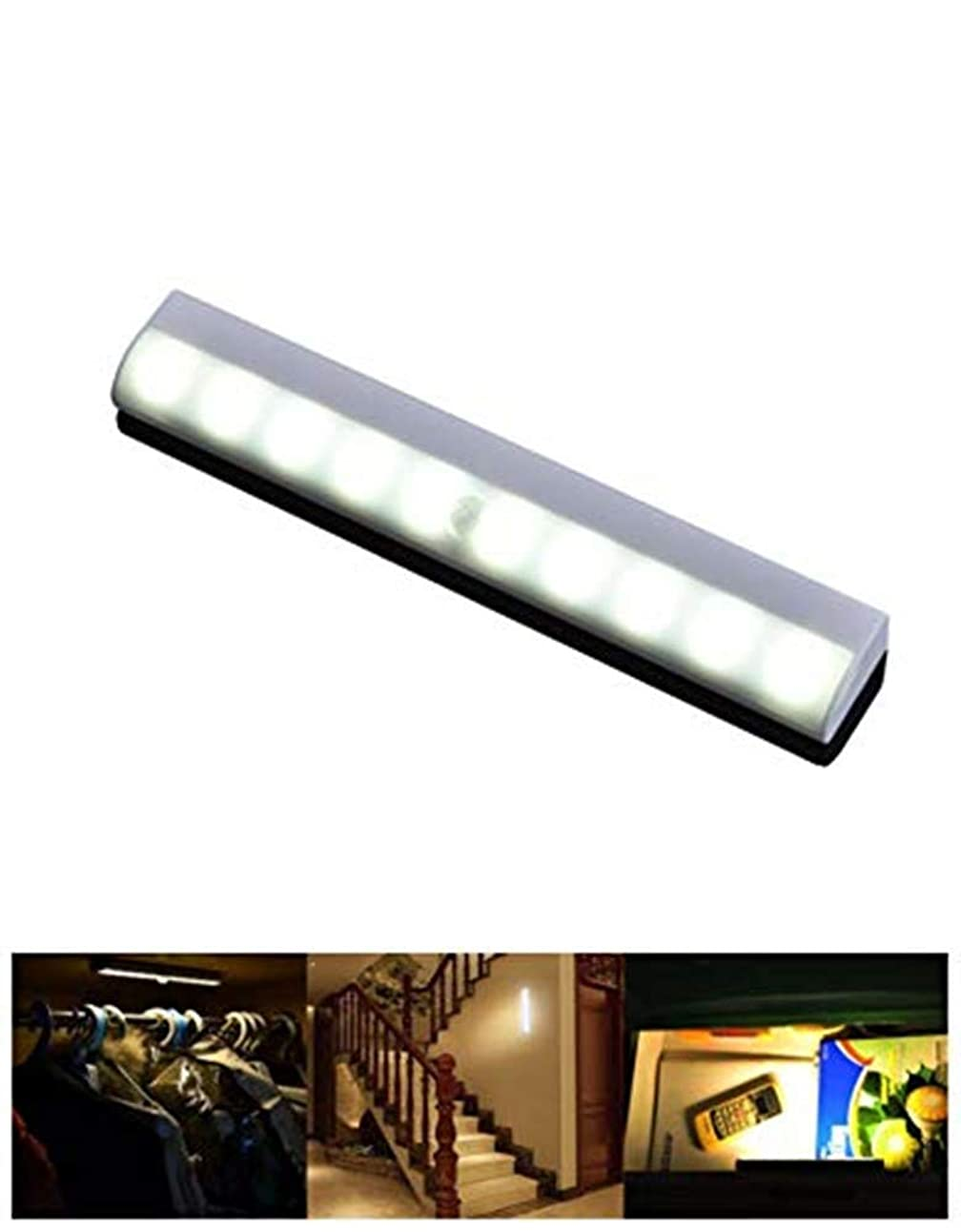 弾丸書士投獄センサーライト 10 LEDランプ 乾電池式 貼り付け型 廊下 階段の上下 1個入
