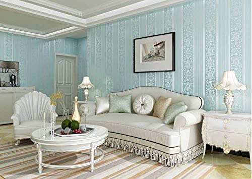 Behang vliesbehang Gestreepte Relief Beige Behang for woonkamer TV Sofa slaapkamer behangen Achtergrond 0.53mx10m jilisay (Color : Blue)