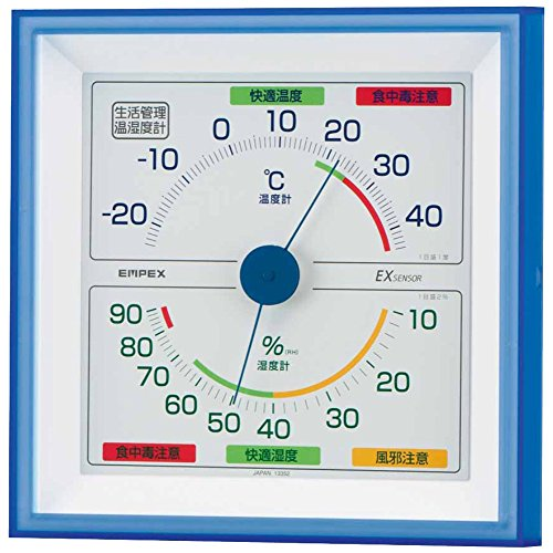 エンペックス気象計 温度湿度計 生活管理温湿度計 壁掛け用 日本製 クリアブルー TM-2476