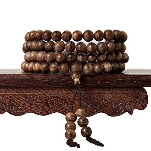 J.Memi's 108 Perlen Armband Buddhismus Mala Handgemacht Adlerholz Natürlich Schmuck Armreif Weihnachten Thanksgiving Geburtstag Geschenk Unisex,8MM