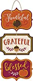 amscan Thanksgiving'Thankful''Grateful''Blessed' Triple Sign, 8' x 8', Multicolor