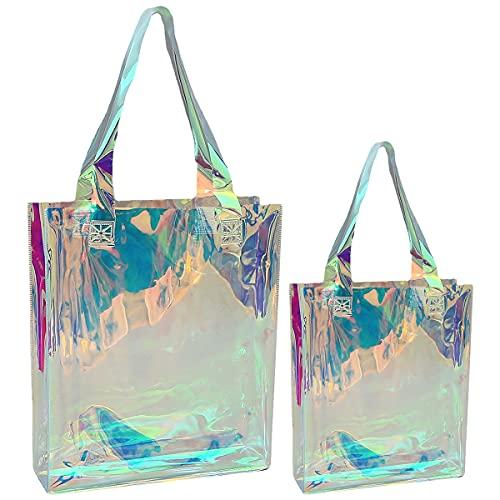 Saijer Transparente Strandtasche, Handtasche ansparente Kosmetiktasche Laser Clear Tragetasche Aus PVC Folie Für Frauen am Strand zu reisen 2 Stück