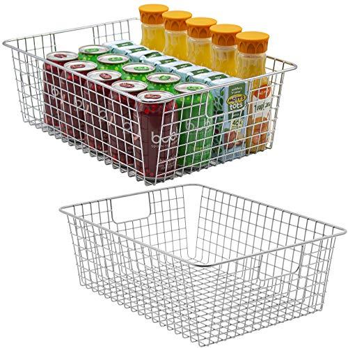Sorbus - Cesta de almacenamiento con asas, apilable de alambre estilo cesta organizadora para decoración del hogar, despensa, congelador, baño, cuarto de lavado, organización de...