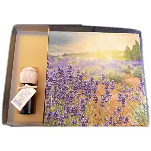 Servietten 20 Stück Motiv Provence Lavendel plus Raumduftöl Natur Lavendel Abrialis 10ml in transparenter Geschenkbox schöne Tischdeko