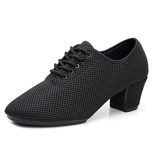 YKXLM Zapatos de Baile de Jazz con Cordones Zapatos de Danza Modern para y Adultos, Modelo LPWY112,Negro,36 EU