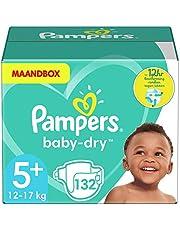 Pampers Maat 5+ Luiers (12-17 kg), Baby-Dry, 132 Stuks, MAANDBOX, Tot 12 uur Bescherming rondom tegen Lekken