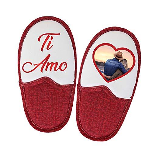 Altra Marca Pantofole Rosa Ciabatte Personalizzate con Foto Testo e Immagini per Donna