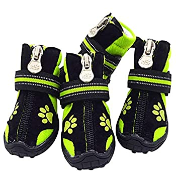 URBEST Dog Winter Shoes Dog Boots Sports Non-Slip Pet Dog Anti-Slip Sole Water Resistant Boots for Dogs 2 Pairs  5# Green