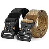 ANDY GRADE Tactical Belts for Men Nylon Adjustable Military Belts Webbing Waist Belt (Style 2 - Black + Khaki (2 Pack), S - Length 45 inch, fits Waist 30'-36')