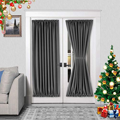 DWCN French Door Curtains – Rod Pocket Thermal Blackout Curtain for Doors with Glass Window Kitchen and Patio Doors for Privacy 54 X 72 Inches Long 1 Curtain Panel with Tieback Dark Grey
