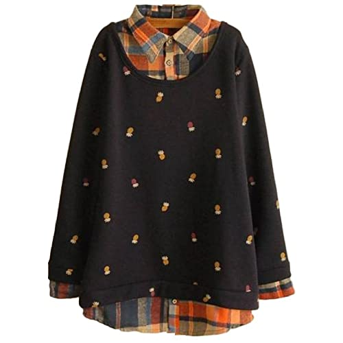 6909c10920 GK-O Mori Girl Cute Fashion False Two-Piece Printed Stitching Fleece Pullover  Sweatshirt