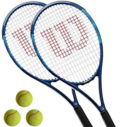 WILSON 2 x Ultra Power Team - Tennisschlaeger besaitet L1/L2 + 3 Tennisbaelle