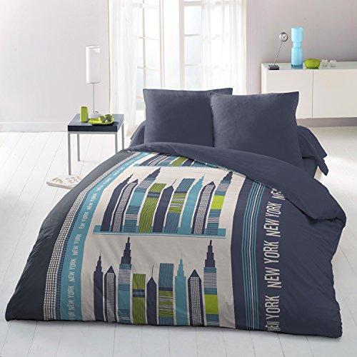 HOME LINGE PASSION Parure de Couette 3 Pièces 220x240 cm, Building, Microfibre, Blanc-Bleu