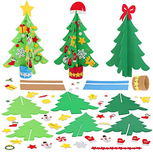 Aneco 12 Kits Craft Foam Christmas Tree DIY 3D Christmas Tree Foam Combination Stickers for Making Funny Christmas Tree