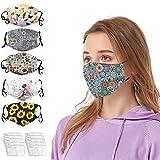 5PCS Mujer de Tela Lavable y Lavables Diseño de Bocas con 10 PCS Filtro (A/5PC+10PC Filtro)...