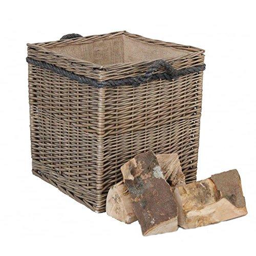 Rieten mand in antieke look, vierkant, gevoerd, voor wasgoed, hout