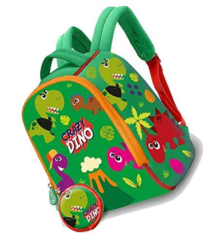 HOVUK Mochila de jardín de infancia de 25 cm para niños hecha de neopreno con estampado de Disney Character Crazy Dino multicolor, utilizable para unisex de 4 años en adelante