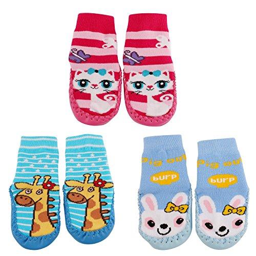 SWEETBB 3 Paare Baby Hüttenschuh, Cartoon Anti-Rutsch Boden Socken Rutschsocken