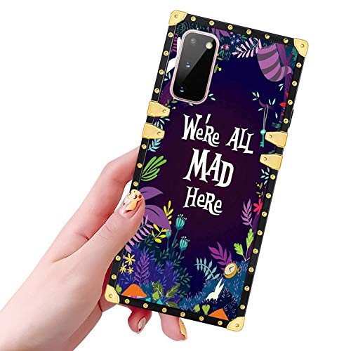 DISNEY COLLECTION Samsung Galaxy S20 5G Case Alice in Wonderland Pattern Glitter Square Luxury Design Slim Shockproof Bumper Protective Cover for Galaxy S20 6.2 Inch 2020 Released