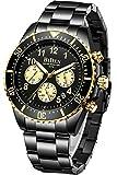 Reloj de Pulsera para Hombre con cronógrafo de Acero Inoxidable, Resistente al Agua, Fecha, analógico, de Cuarzo, para Hombre, Oro B, Reloj de Cuarzo, cronógrafo