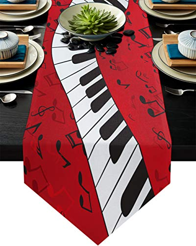 Big buy store Table Runner Music Musical Notes with Piano Decorative Cotton Line Table Covers for Dinner Kitchen Wedding Indoor and Outdoor Parties Red White Table Setting Decor -13 x 70 inch
