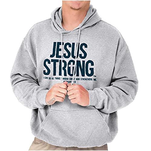 Jesus Strong Philippians 4:13 Bible Hoodie Sweatshirt Women Men Ash Grey