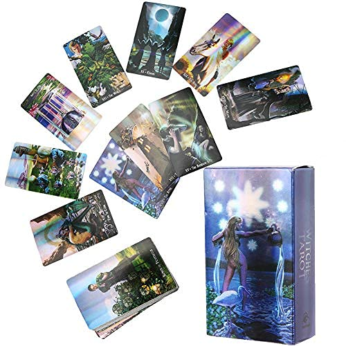 Yitengteng Entertainment Tools Witch Tarot Cards Deck Future Telling Game with Colorful Case Hologram Paper English Divination Card Unknown Tarot Deck Interactive Board Game for Home Party Gathering