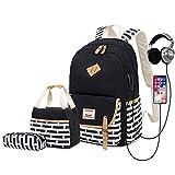 Delapuy Canvas Waterproof Backpack Set for College Girls Women USB Charging Port Fits 14' Laptop Backpack Daypack School Bookbag(Black)