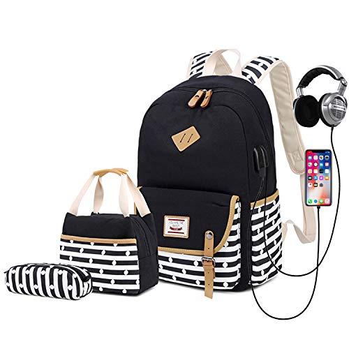 Delapuy Canvas Waterproof Backpack Set for College Girls Women USB...