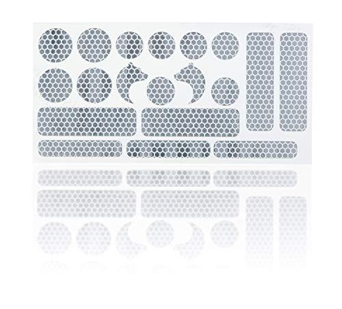High Performance 3M Reflektoren Aufkleber Reflex Sticker Set 19-teilig Erhöhung der Sichtbarkeit in Dämmerung und Dunkelheit für Kinderwagen, Buggy, Laufrad, Fahrrad, Helm, Rollstuhl, Gehhilfen