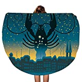 Galaxy Starry Sky Cancer - Toalla de Playa Redonda Gruesa con diseño de Mandala   Microfibra   Estilo de círculo Bohemio   De Gran tamaño Extra Grande   Tapete de Yoga   Cubierta de Mesa