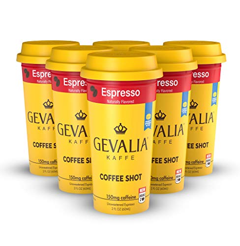 FORTO Gevalia Kaffe Coffee Shot - Espresso, Ready-to-Drink on the go, High Energy Cold Brew Coffee- Fast Coffee Energy Boost, 2 Fl Oz, Pack of 6
