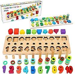 Giochi Montessori: è possibile imparare i numeri, i colori, le forme geometriche e non solo, e i numeri in inglese, e stimolando il senso della vista. Sicuro per I Bambini: Il materiale del giocattolo accatastato è di legno e vernice a base d'acqua, ...