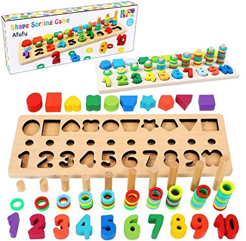 Afufu Giochi Bambini 3+ Anni, Giocattoli Educativi Montessori da Puzzle in Legno, Anelli impilabili per Imparare la Matematica Contare e Imparare i Colori, Giochi Educativo Set Regalo per 3 4 5 Anni