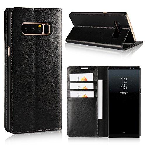 Copmob Coque Samsung Galaxy Note 8,Premium Flip Portefeuille Etui en Cuir Housse à Clapet,[3 Porte-Cartes][Fonction Support][TPU Antichoc],Housse Etui pour Samsung Galaxy Note 8 - Noir