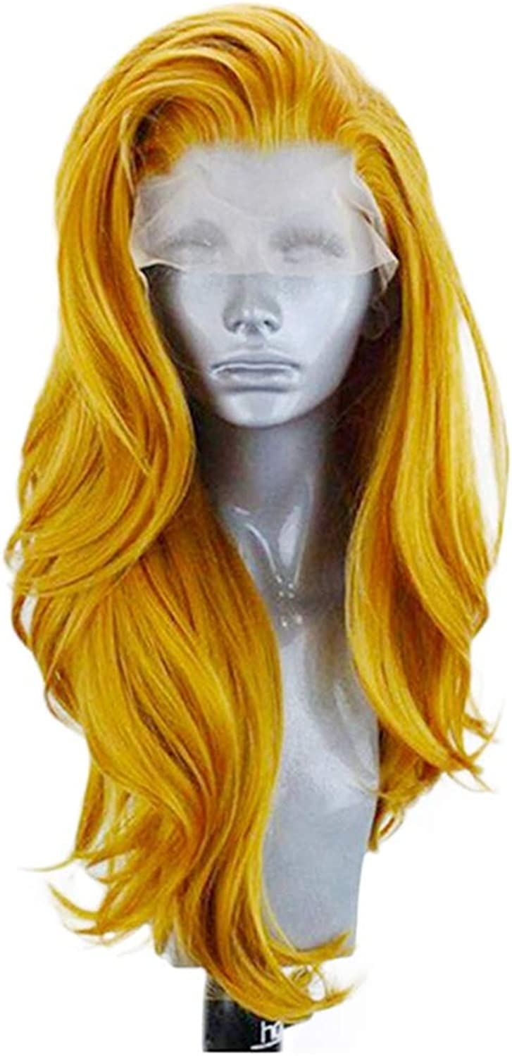 LJ Front Bud Silk Screen European And American Fashion gold Ladies Wig 26 Inches Large Wave Long Curly Hair Chemical Fiber Hood High Density Breathable And Lifelike