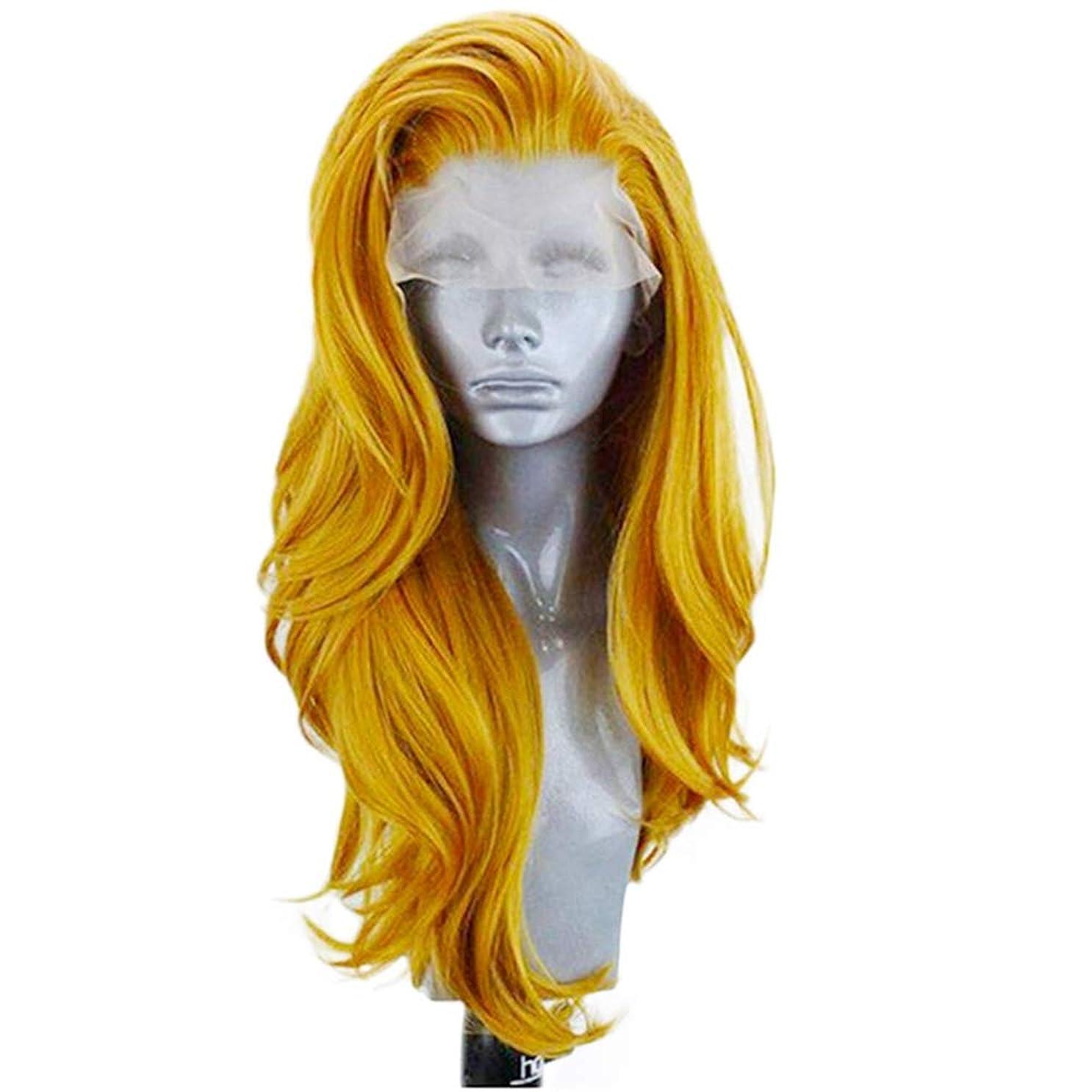 降ろす硬化する考案するZXF フロントバッドシルクスクリーンヨーロッパとアメリカのファッションゴールドレディースウィッグ26インチ大波長い巻き毛の化学繊維フード高密度 美しい