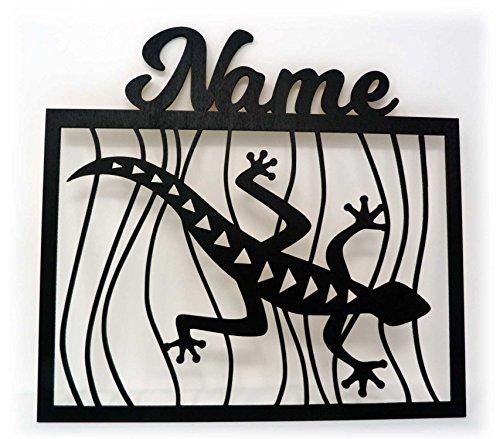 Unbekannt Schlummerlicht24 Led 3D Wand-Deko Gecko Eidechsen + Name Geschenk als Lampe für Wohn-Zimmer Schlafzimmer Wandtattoo (Schwarz)