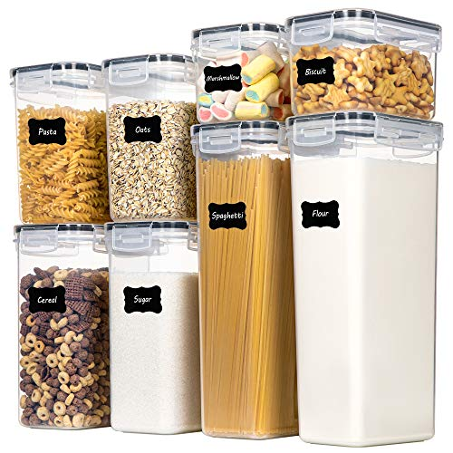 Airtight Food Storage Containers with Lids, Chefstory 8 PCS Plastic Storage Containers for Kitchen & Pantry Organization and Storage,Dry Food Canisters for Flour, Sugar and Cereal