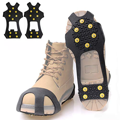 JSHANMEI Walk Traction Cleat Snow Ice Grips Snow Cleats Crampons Anti Slip Stretch Footwear (10 Studs, M)