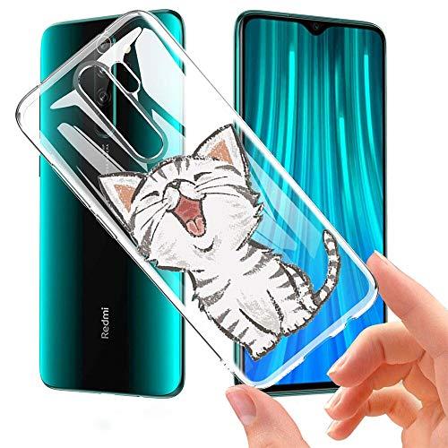 ZhuoFan Xiaomi Redmi Note 8 Pro Hülle, Silikon Transparent Clear Schutzhülle mit Motiv Handyhülle Ultra Dünn Slim Stoßfest TPU Bumper Hülle für Xiaomi Redmi Note 8 Pro [6.53 inch], Lächelnde Katze